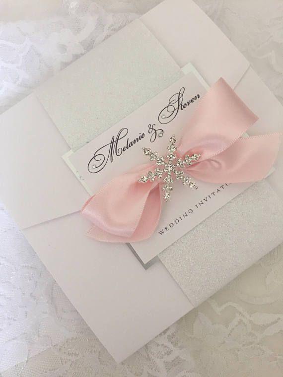 Noelle Collection SAMPLE handmade winter wedding invitation white