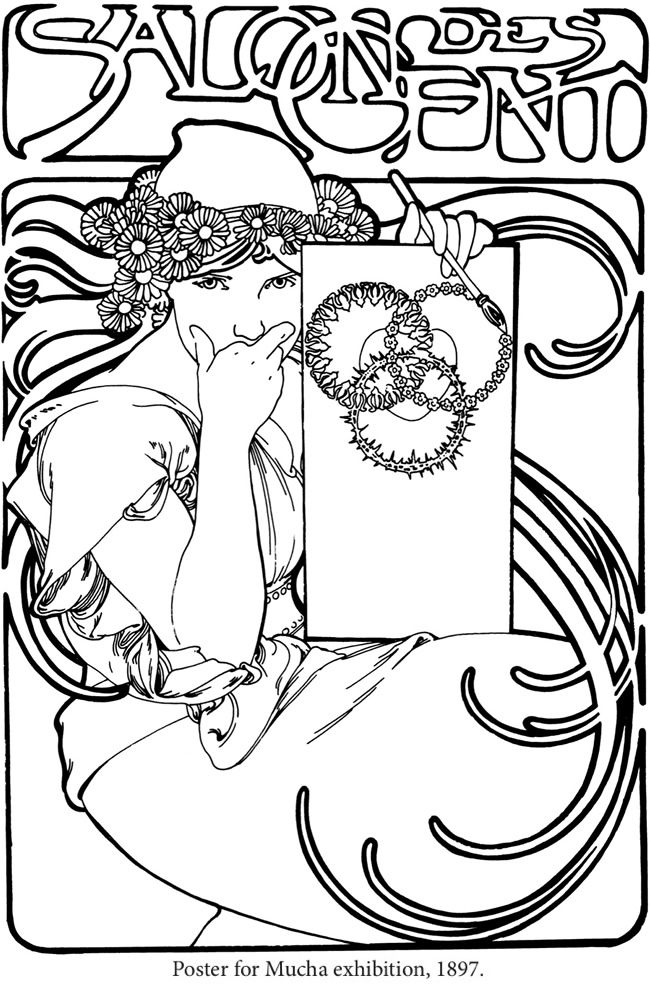 Creative Haven ART NOUVEAU DESIGNS Coloring Book By Alphonse Marie Mucha Jr