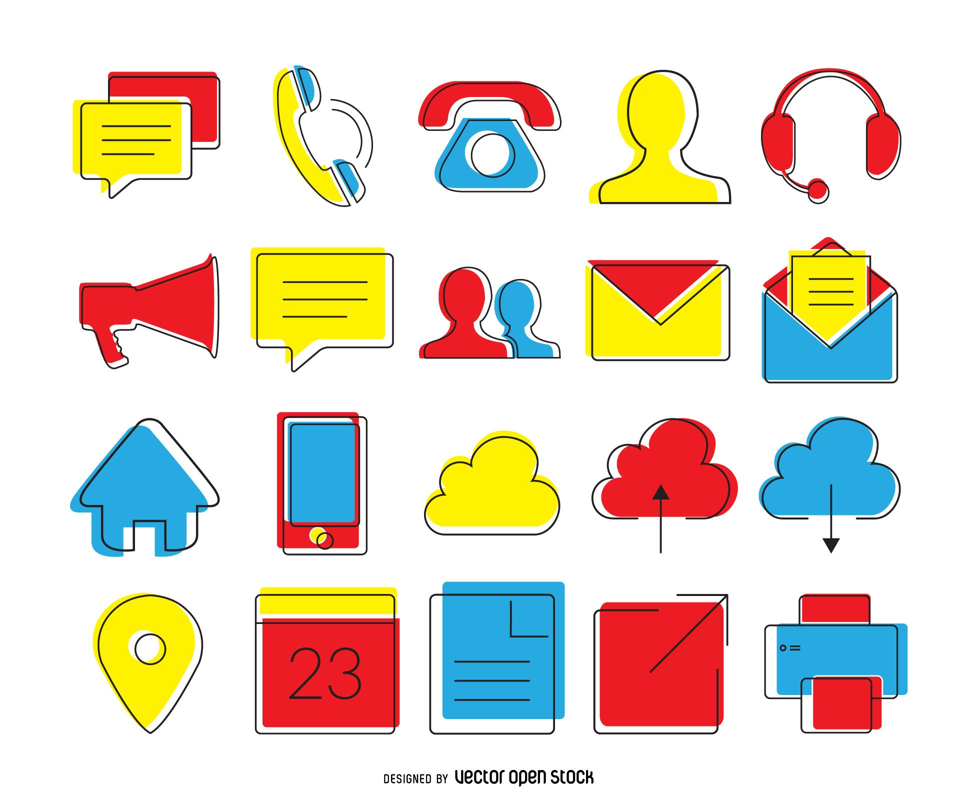 Set of contact icons in bright tones of blue, red and