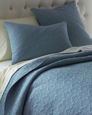 Filigree Quilt And Sham Tempest Blue Quilted Coverlet