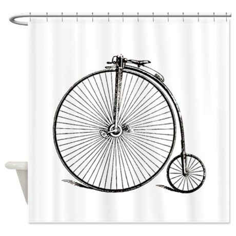 Vintage Bike Shower Curtain By Traveling Little Treasures Cafepress Fabric Shower Curtains Shower Curtain Decor Designer Shower Curtains