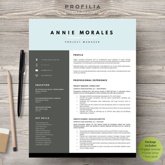 Modern Resume Design Modern Resume & Cover Letter Template  Editable Word Format