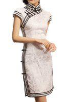 Amazon.com: Flower Print Silk Satin Knee-length Dress: Clothing