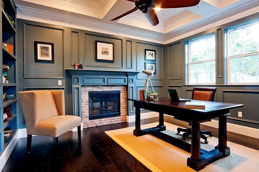 Contemporary Home Office With Wall Moulding Ceiling Fan Crown
