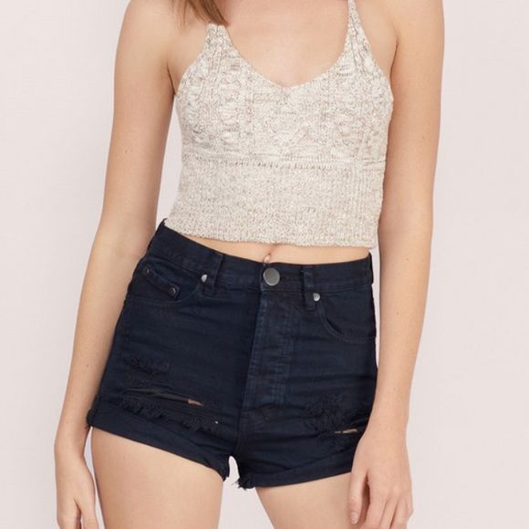 Hyperion High Waisted Denim Shorts Distressed high waisted shorts with folded hem and lightly faded wash. Tobi Shorts Jean Shorts
