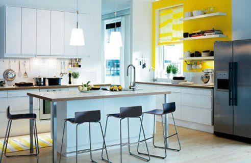 White and yellow kitchen   New House Ideas   Pinterest