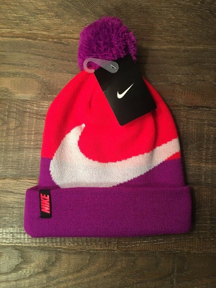 ceb3dce8ede Nike Sportswear Pom Beanie Hat Youth 7 16 Kids Girls 4A2547 Ski Snowboard   fashion  clothing  shoes  accessories  kidsclothingshoesaccs   girlsaccessories ...