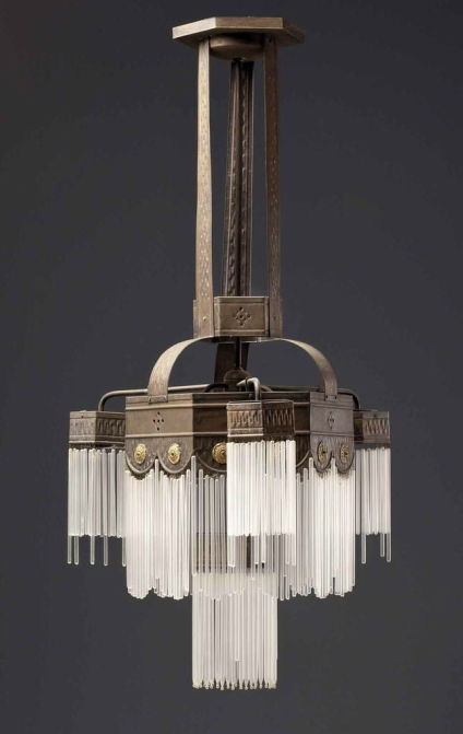 Classic deco lines. Photog. Unknown. Art Deco Chandelier ...