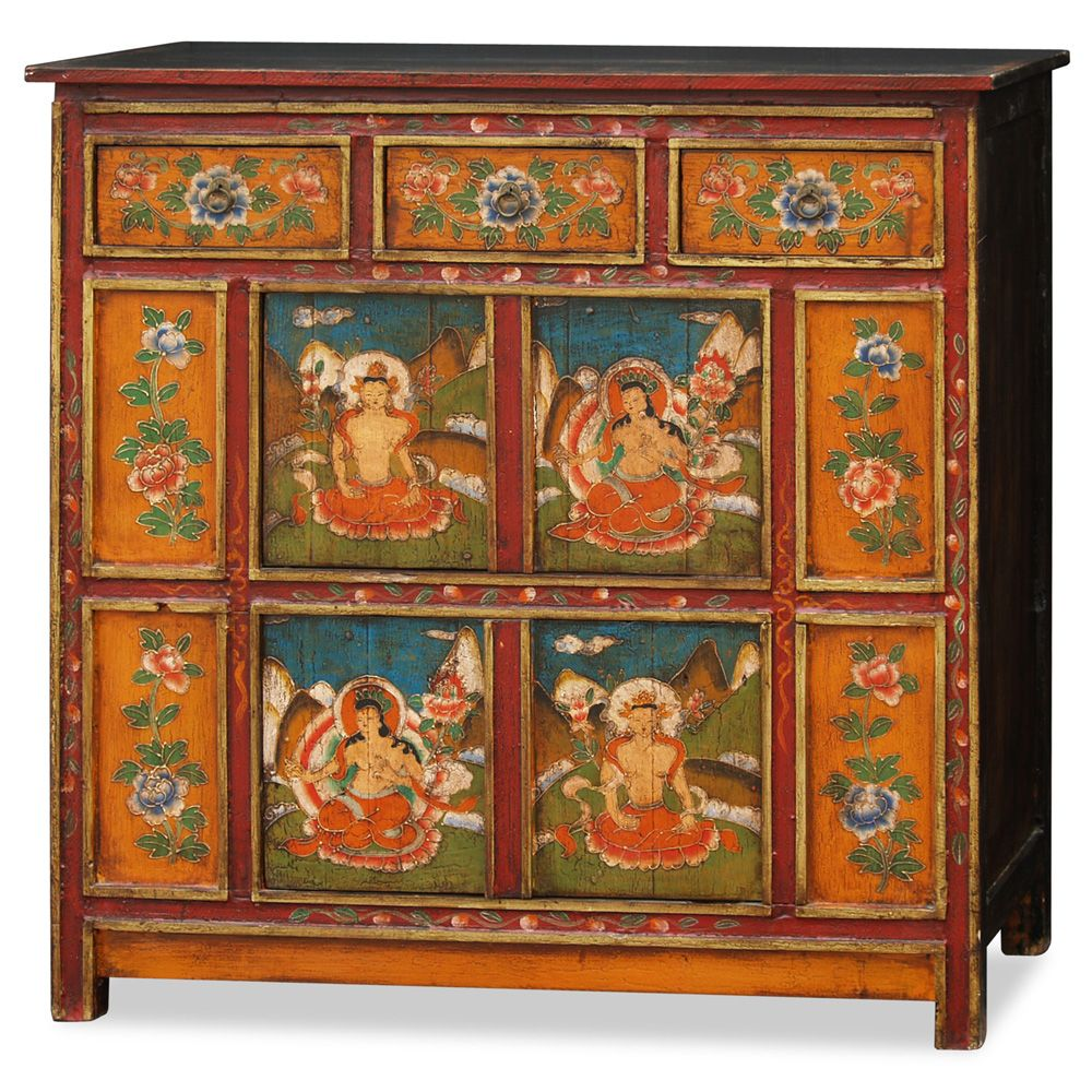 Hand Painted Tibetan Chest Decorated In A Vibrant Color Scheme With Intricate Floral Patterns A Painting Upholstered Furniture Kalamkari Painting Hand Painted