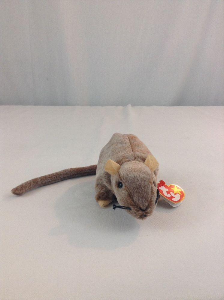 e9803468b2d 1999 Ty Beanie Baby Tiptoe Brown Rat Mouse Stuffed Plush Animal Toy ...