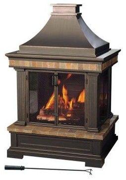 Sunjoy Fireplace Amherst 35 In Wood Burning Outdoor Fireplace Contemporary Firepi Outdoor Wood Burning Fireplace Outdoor Fireplace Wood Burning Fireplace