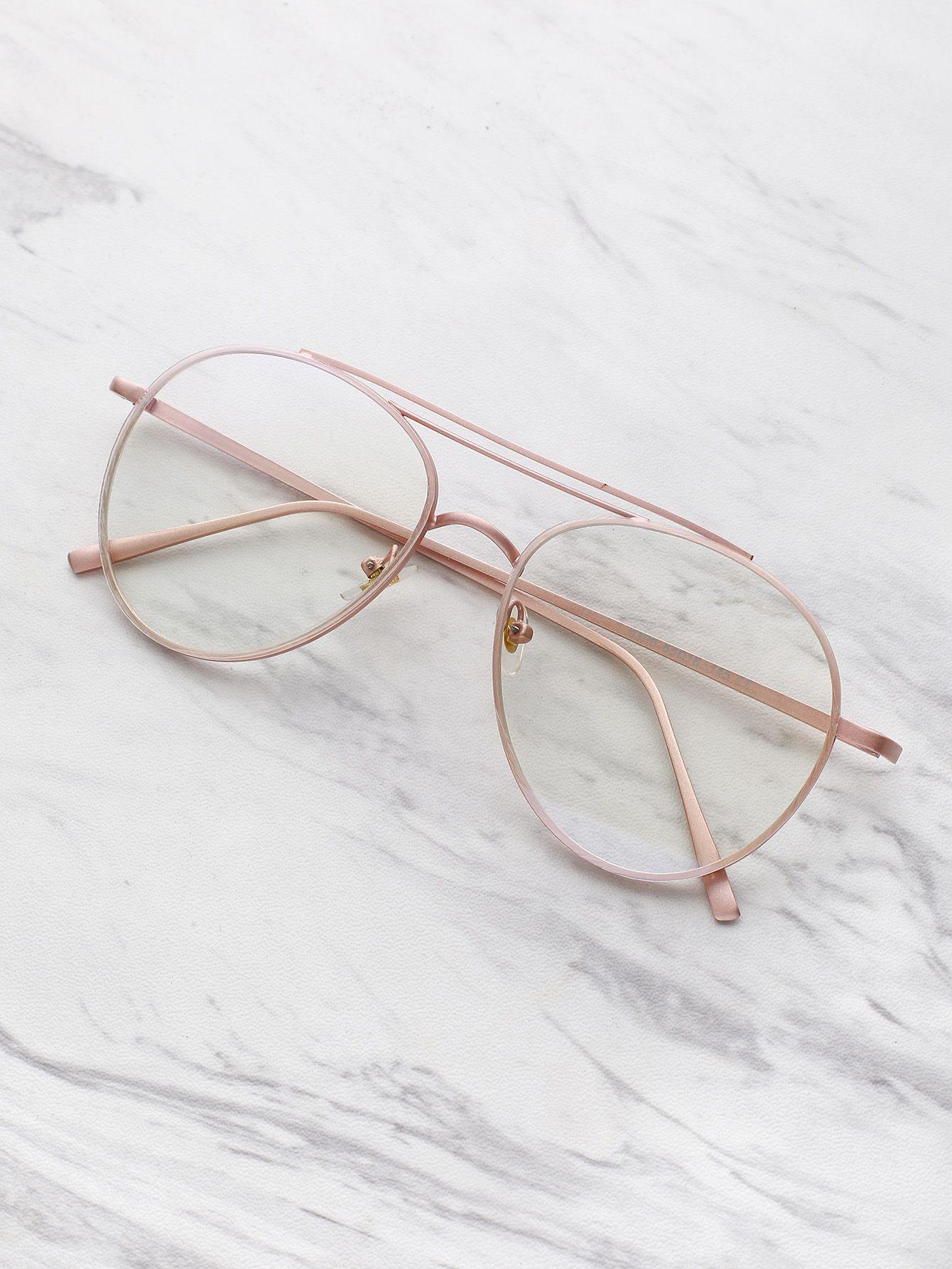 14d456b497 Shop Clear Lens Aviator Glasses online. SheIn offers Clear Lens Aviator  Glasses & more to fit your fashionable needs.