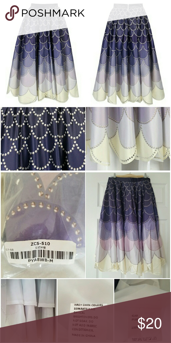 Mermaid Scale Midi Skirt New In Bag From Choies Allover Print Ombre Purple