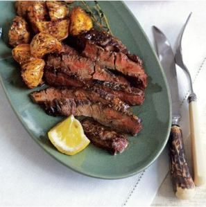 Skirt steak with lemon chili roasted potatoes
