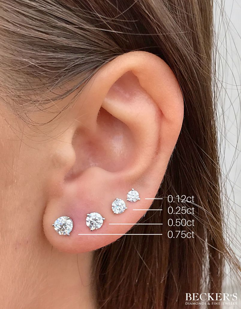 A Helpful Chart Of Some Of Our Most Popular Diamond Stud Sizes Which Is Your F Diamond Earrings Studs Diamond Earrings Studs Round Gold Diamond Earrings Studs