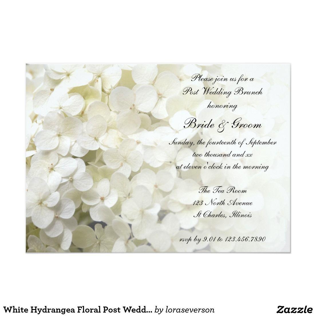 White Hydrangea Floral Post Wedding Brunch Invite | Floral Wedding ...