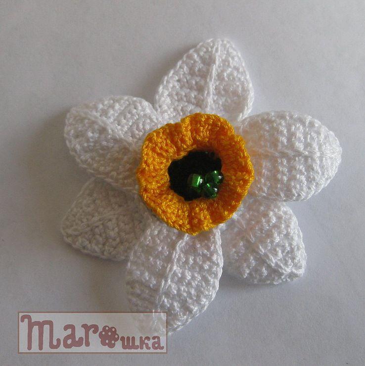 Patrón. Flor narciso | Crochet: Apliques y broches | Pinterest ...