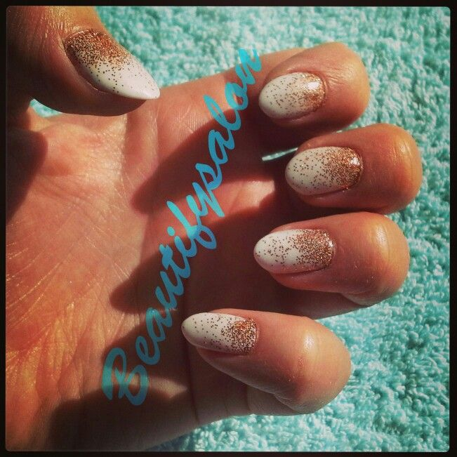 cnd shellac white nails with rose gold glitter fade