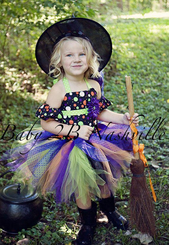 Girls Polka Dot Witch Halloween Costume Tutu by Baby2BNashville - toddler girl halloween costume ideas