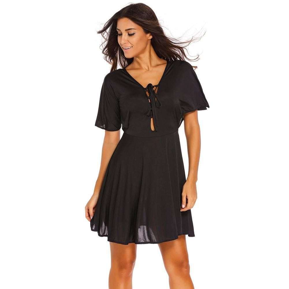 D black laceup deep v neck kimono sleeve a line dress