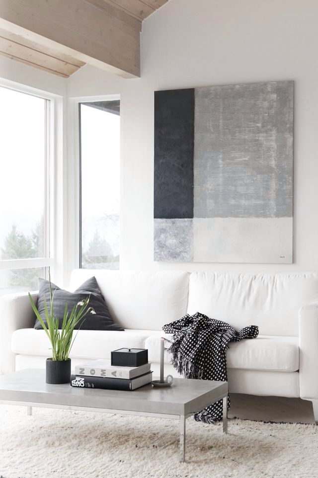 Large Minimal Black White And Grey Canvas Wall Art