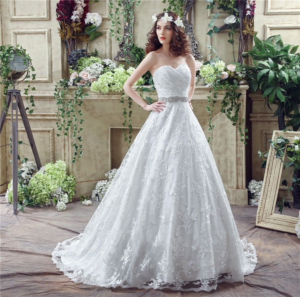 Top Quality Lace And Tulle Wedding Dress Up Court Train Off The Shoulder Bridal Gowns