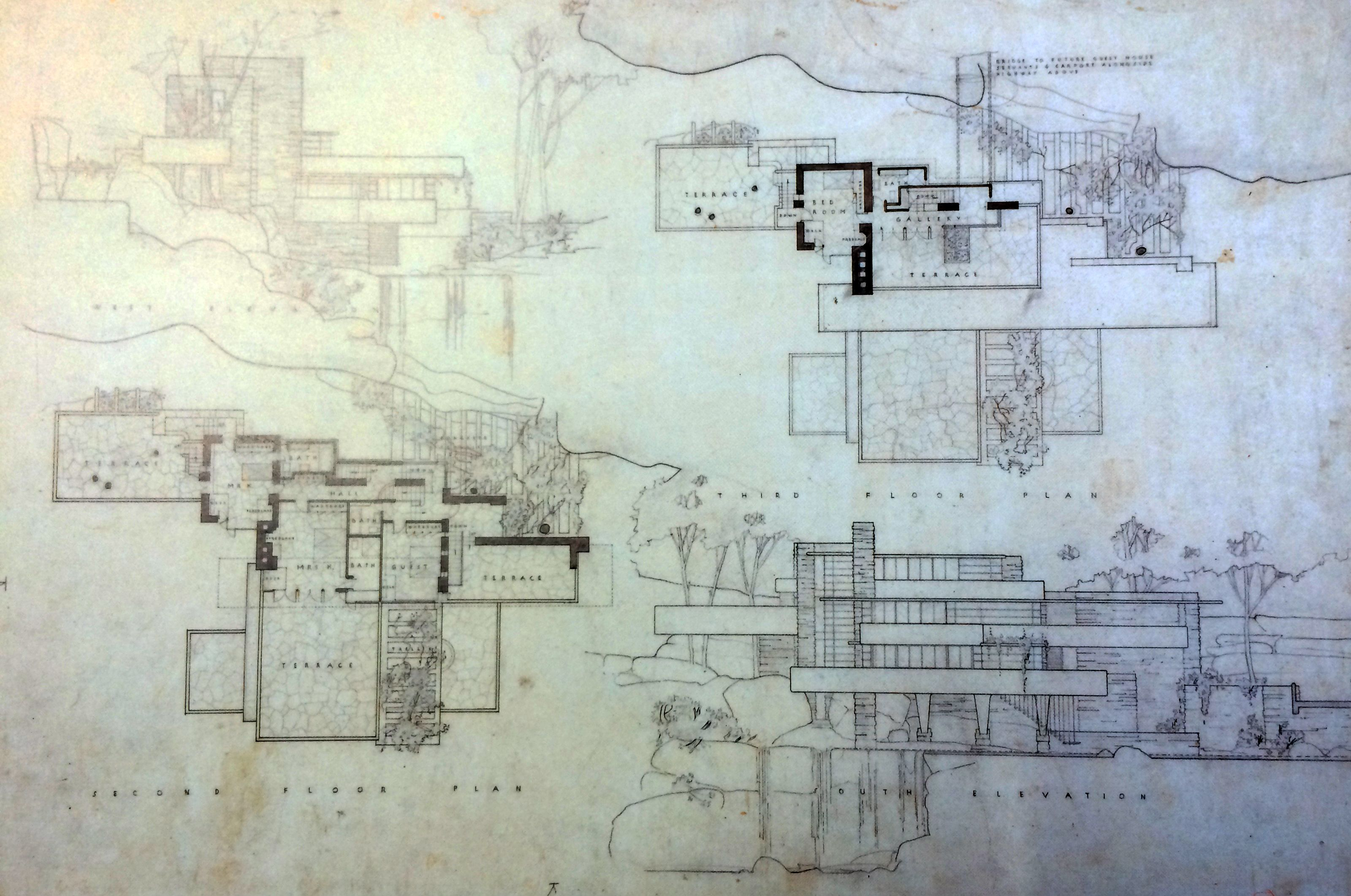 Frank lloyd wright waterfall house floor plans for House construction plan