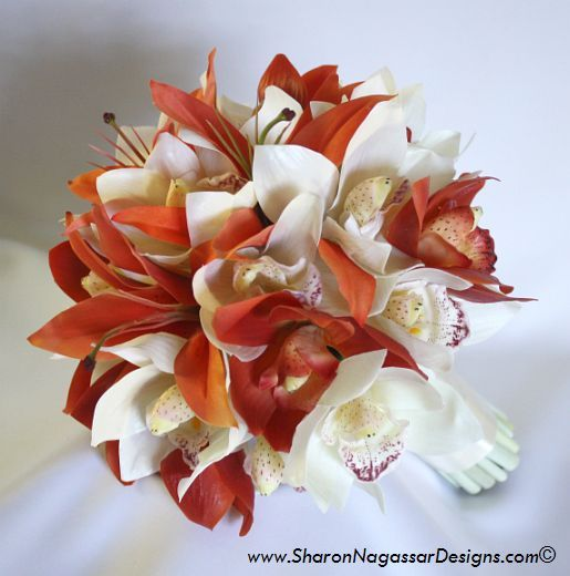 Bridal Bouquet Round Hand Tied Style Composition Real Touch