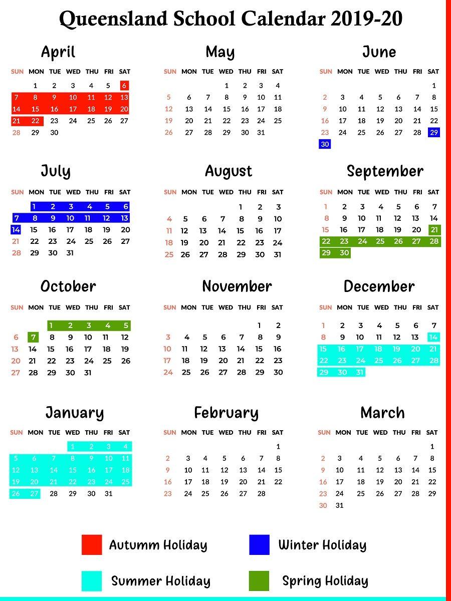 Extraordinary 2020 School Calendar Qld In 2020 School Calendar School Holiday Calendar Calendar Template