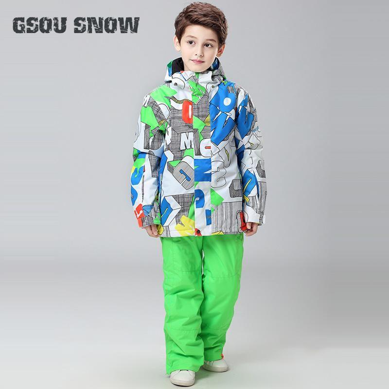 4473129b887f 2018 GSOU SNOW Kids Ski Suit Waterproof Windproof Breathable Super ...