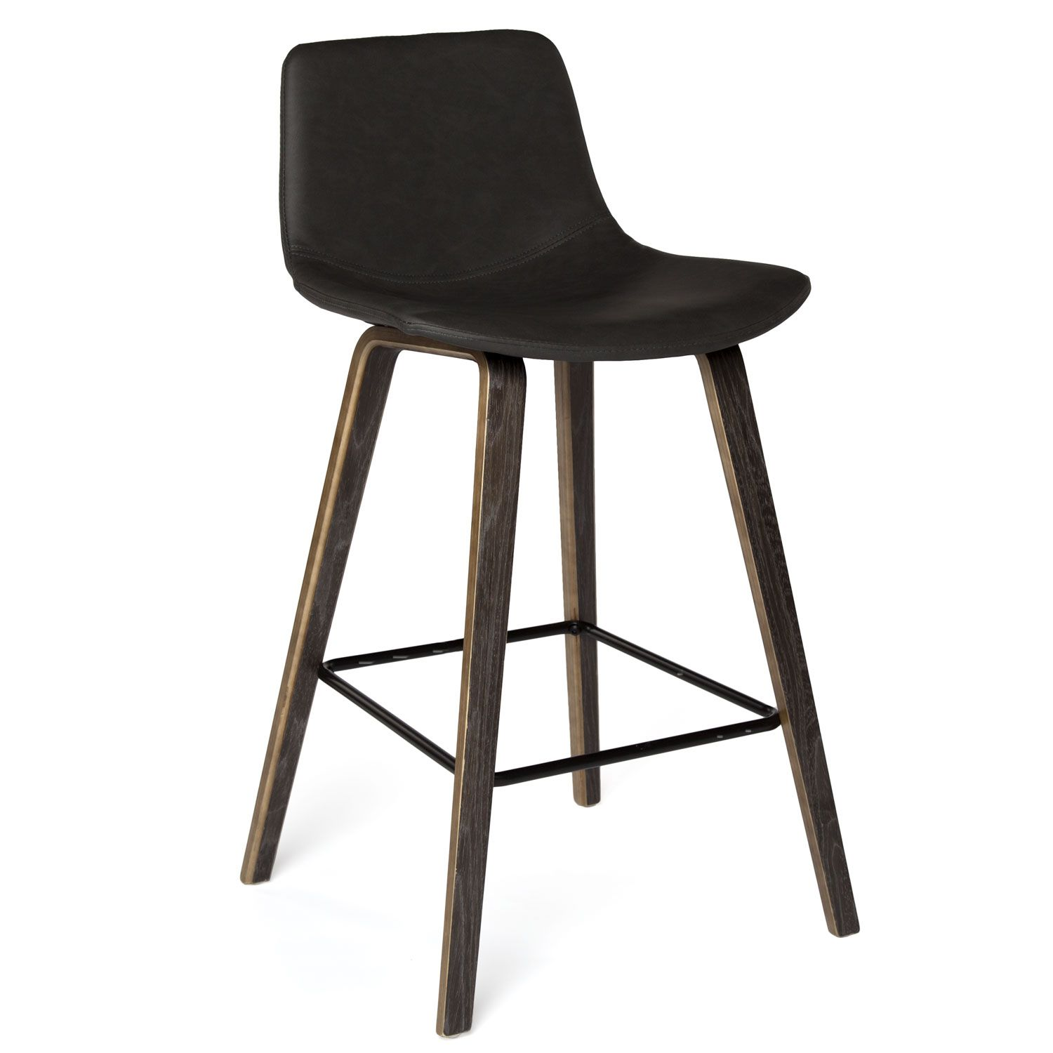 Modern Counter Stool With Vintage Polyurethane Cover In 2 Colors Grey Wood Finish Legs Accented With Black Metal Modern Counter Stools Counter Stools Stool
