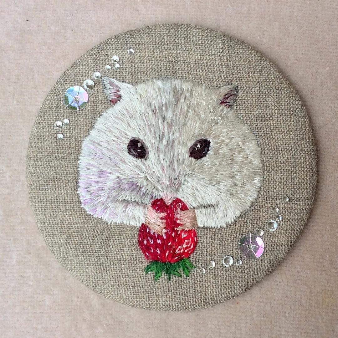 Hamster   ジャンガリアンハムスター *\(^o^)/* #handmade #手作 #手工 #刺绣 #DIY #embroidery #ハンドメイド #art #broderie #刺繍 #вышивка #イラスト #ペット #자수 #ハムスター #hamster