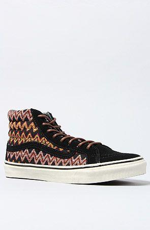 The Sk8 Hi Slim CA Sneaker in Black Zig Zag by Vans Footwear  fc4545d81444