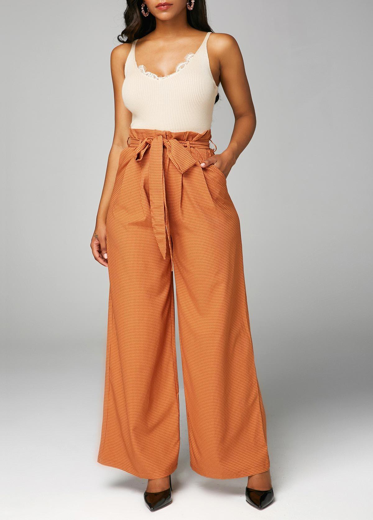 81766e92807 Pocket Paperbag Waist Belted Wide Leg Pants