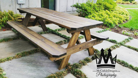 Cool 8Ft Picnic Table With A Dark Walnut Stained Finish And Ibusinesslaw Wood Chair Design Ideas Ibusinesslaworg