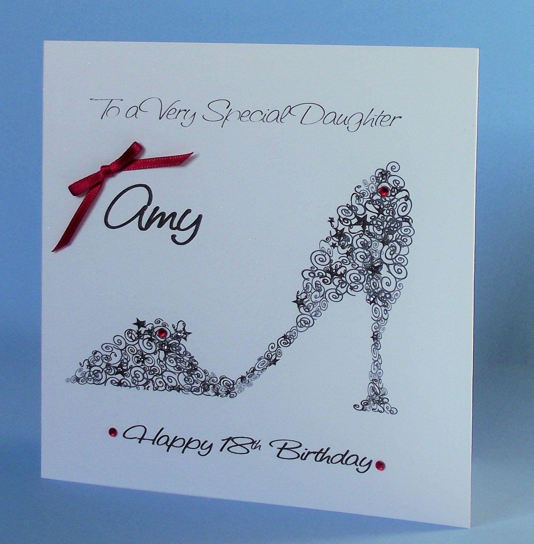 Handmade Personalised 18th Birthday Card Black Shoe Curly Design