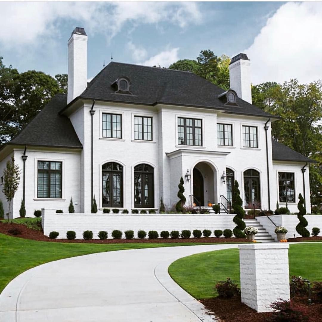 Cc Mike On Instagram White House Black Windows Y All Know How I Like It Thanks For All White Exterior Houses White Brick Houses French Country Exterior