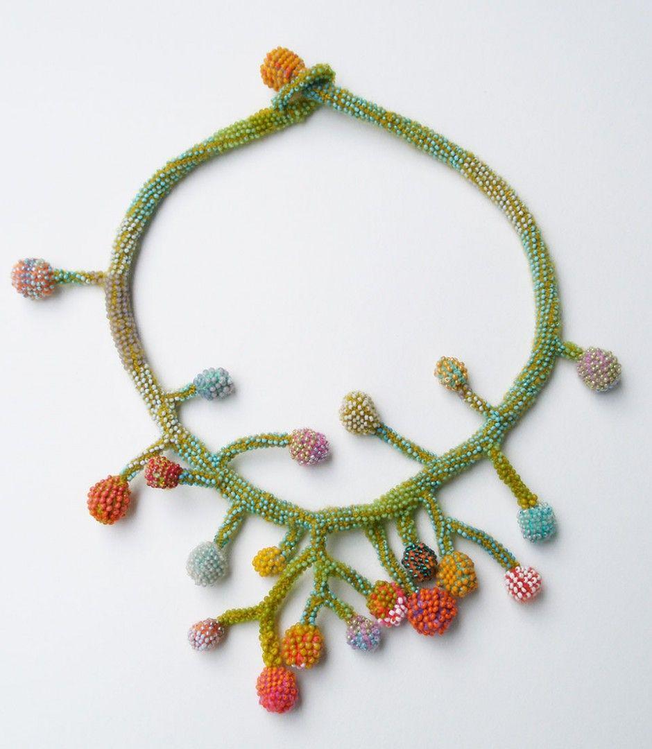 Lichen Necklace.  Glass seed beads, merino wool, crocheted.
