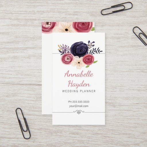 Floral Wedding Planner Girly Business Cards Zazzle Com Girly Business Cards Wedding Planner Florist Business Card