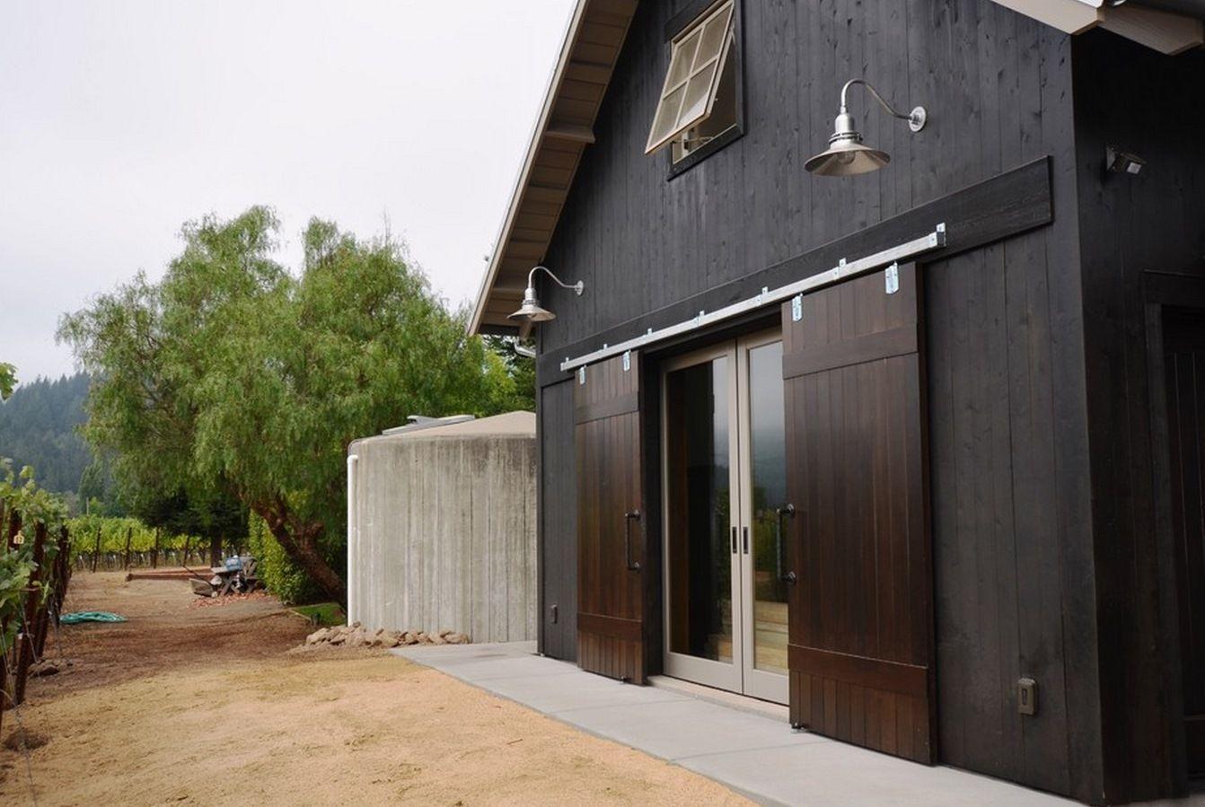 classic gooseneck barn lights for boutique california winery backyard exterior sliding barn. Black Bedroom Furniture Sets. Home Design Ideas