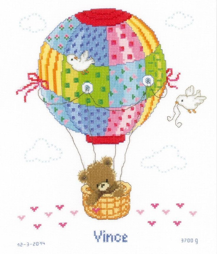 Hot Air Balloon Birth Sampler Cross Stitch Kit - £28.50 on Past Impressions | by Vervaco