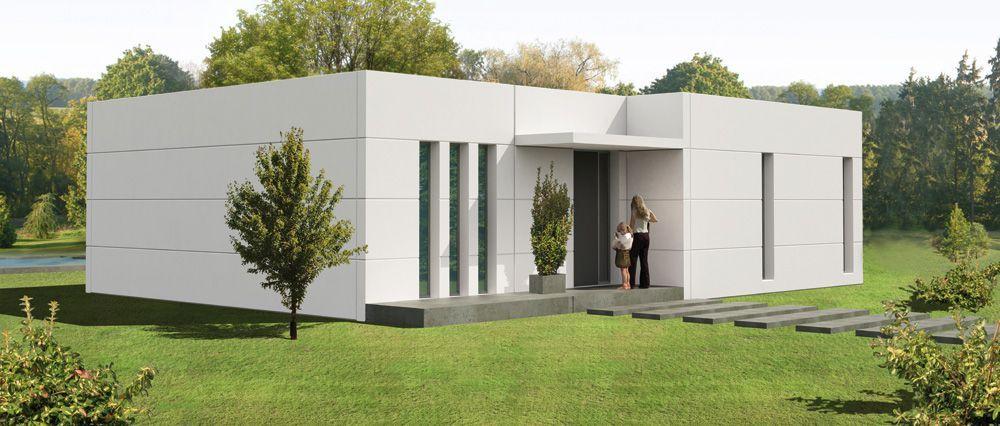Fachadas de casas de una planta buscar con google - Casas prefabricadas por modulos ...