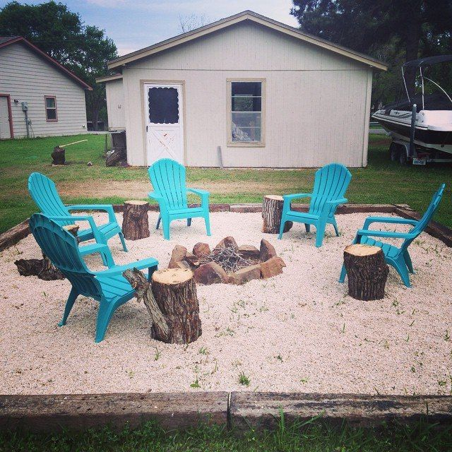 We Just Finished Our Fire Pit At The Lake House Materials Used Railroad Ties Crushed Limestone Large R Rustic Fire Pits Fire Pit Materials Iron Fire Pit