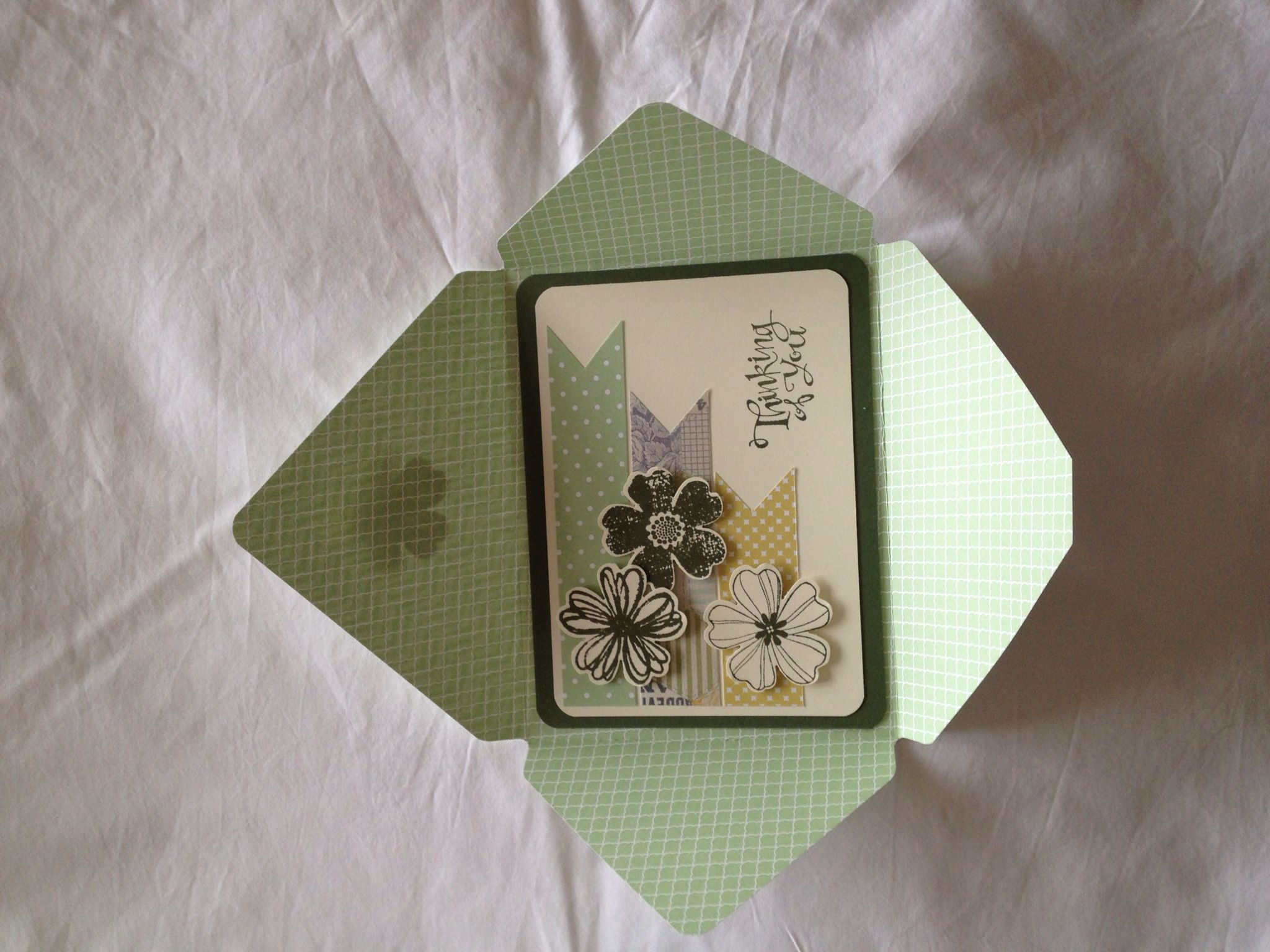 This is the card-in-an-envelope that we made at our Stampin' Up! Envelope punch board class. With Michelle Philips  Stampin' Up!