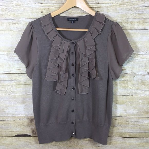 Blouse  Saks Fifth Avenue brown blouse with sheer ruffles at the collar and short sleeves. Very pretty and elegant, would go great with a set of pearls  brand new, never worn, Size Large Saks Fifth Avenue Sweaters Crew & Scoop Necks