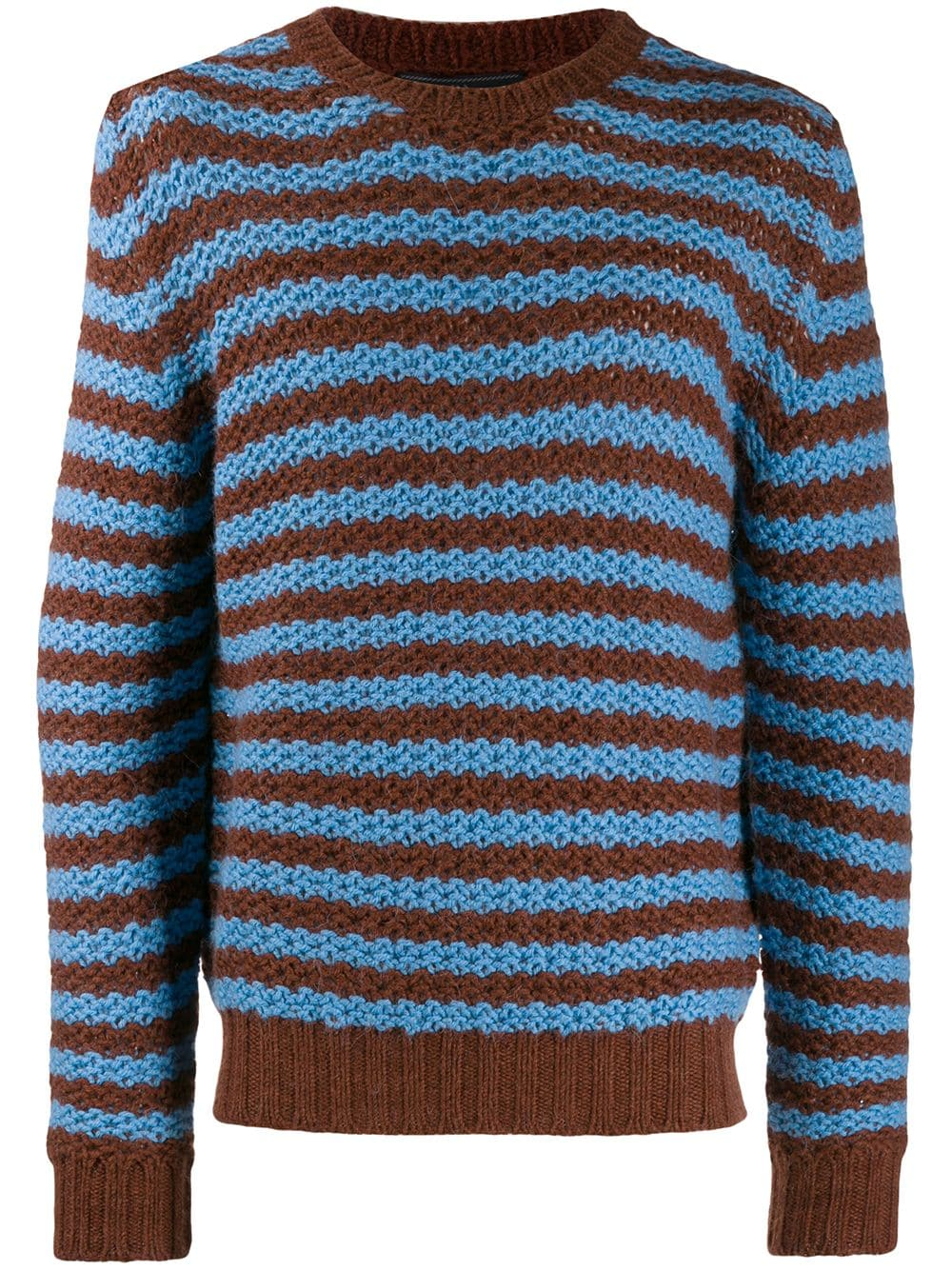 df5c35d4773 Prada striped chunky knit jumper - Blue in 2019   Products   Chunky ...