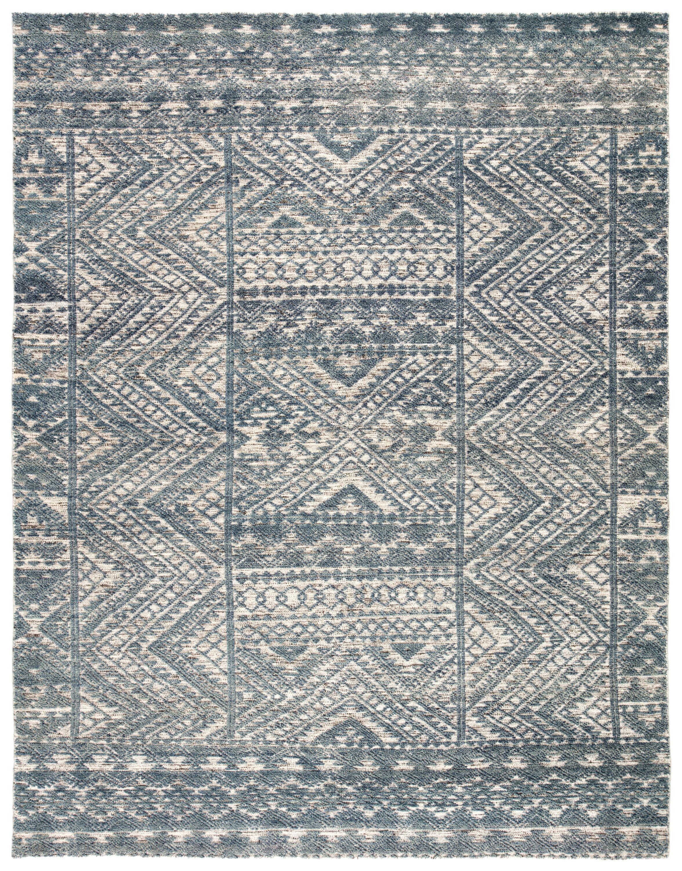 Prentice Hand Knotted Geometric Blue Ivory Area Rug Rugs Area Rug Design Rug Direct