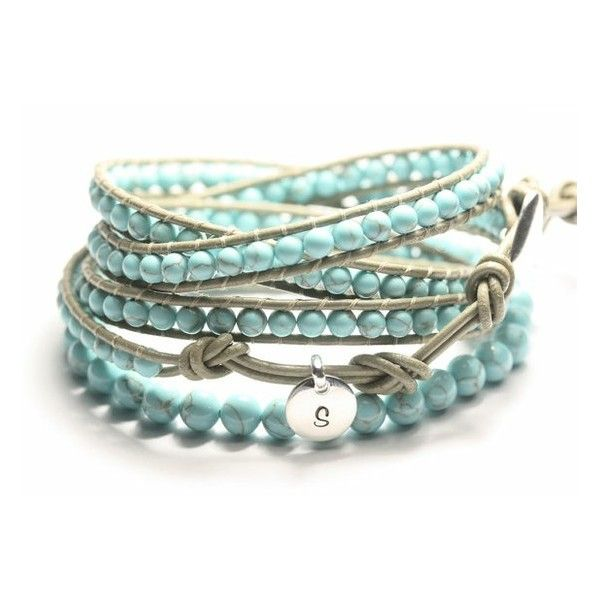 Leather Wrap Bracelet Turquoise Beads Made To Order Personalized Tag Sterling Silver On Etsy