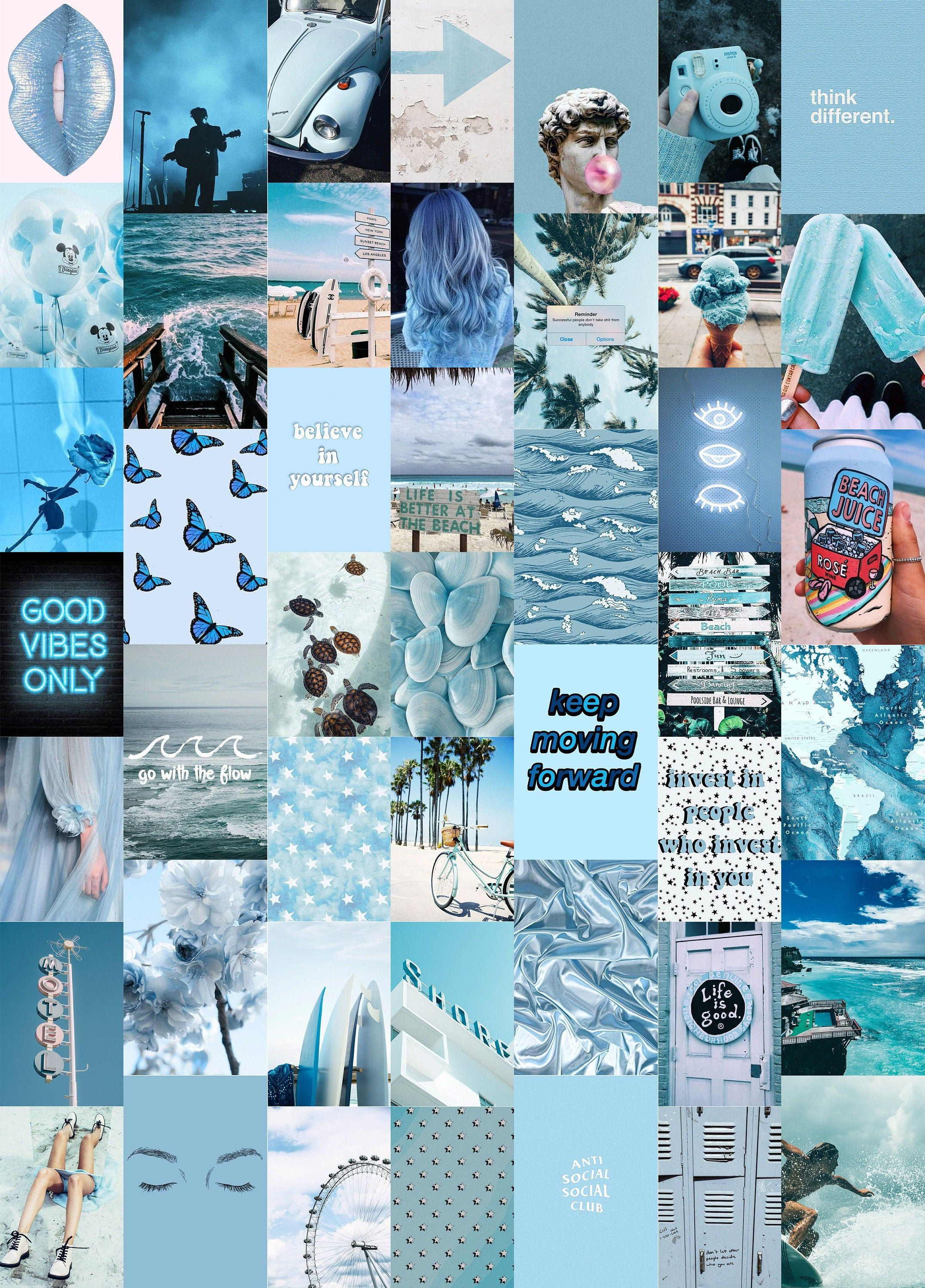 Ocean Blues Wall Collage Kit (Digital Download), Photo Wall Collage, Aesthetic Collage Kit, Boujee Wall Collage, Dorm Room Decor