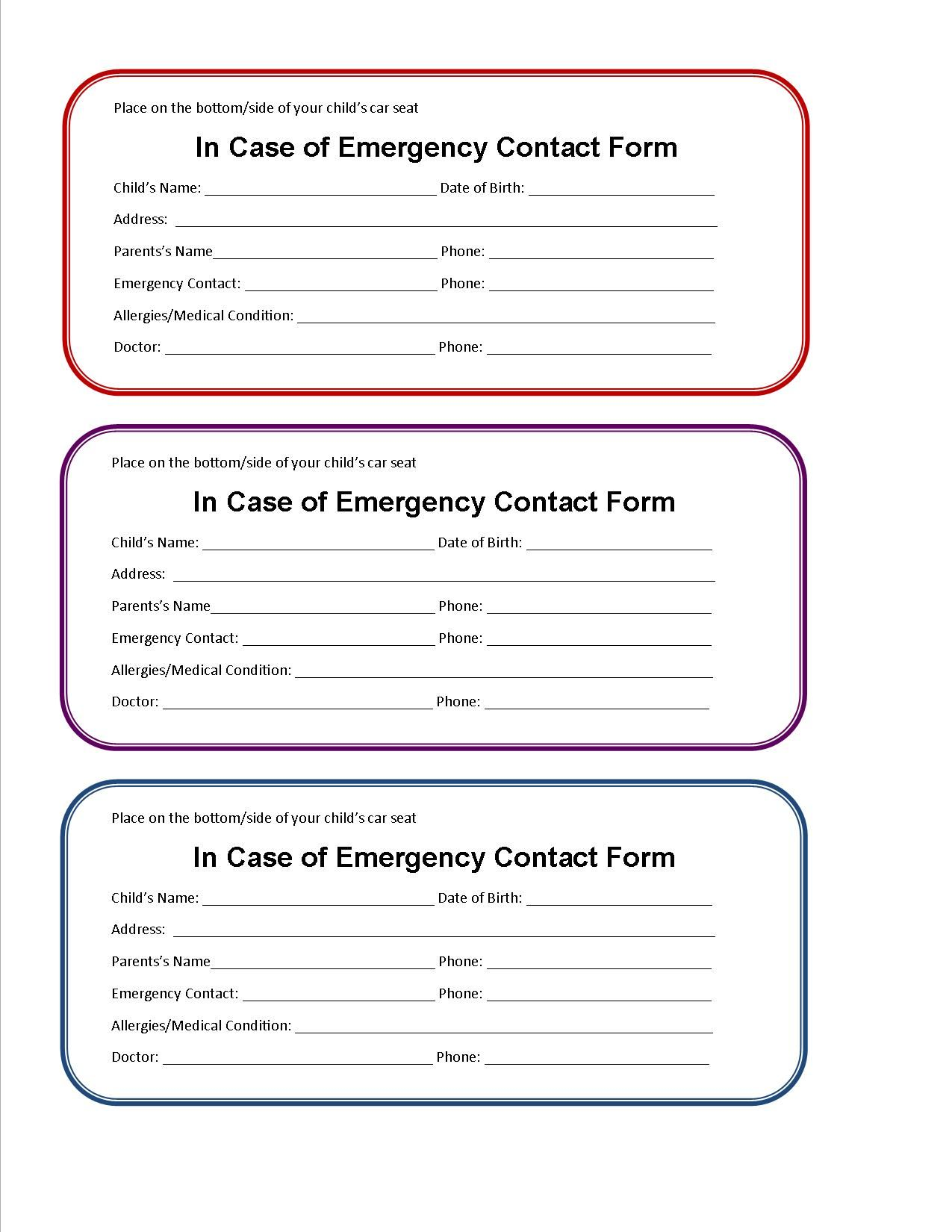 Printable Emergency Contact Form for Car Seat | Car seats and ...